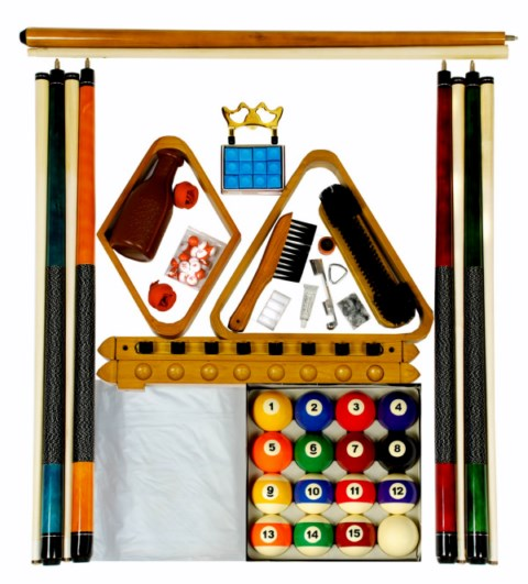 Billiard -  Pool Table Accessory Kit W Traditional Style Ball Set Oak Finish